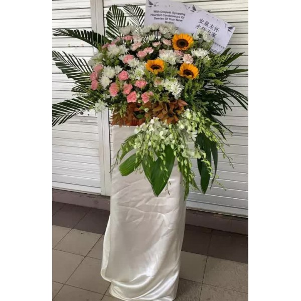 Sympathy, Condolence Flower Stand, Wreath - Solemn Thoughts